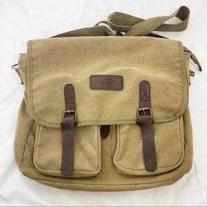 World Famous messenger bag laptop bag canvas tan